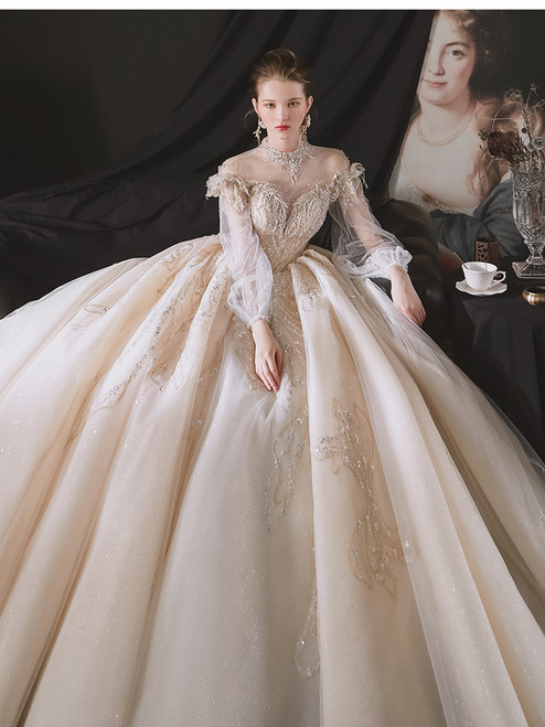 Champagne Long Sleeve High Neck Beading Wedding Dress