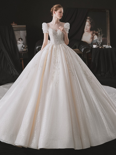 Tulle Sequins Backless Puff Sleeve Beading Wedding Dress