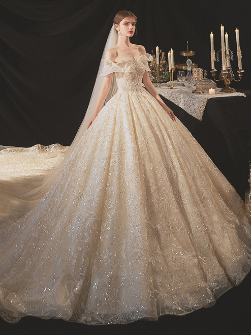 Ball Gown Sequins Beading Wedding Dress With Long Train