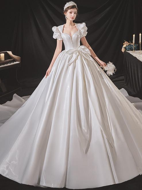 White Satin Puff Sleeve Pearls Backless Wedding Dress