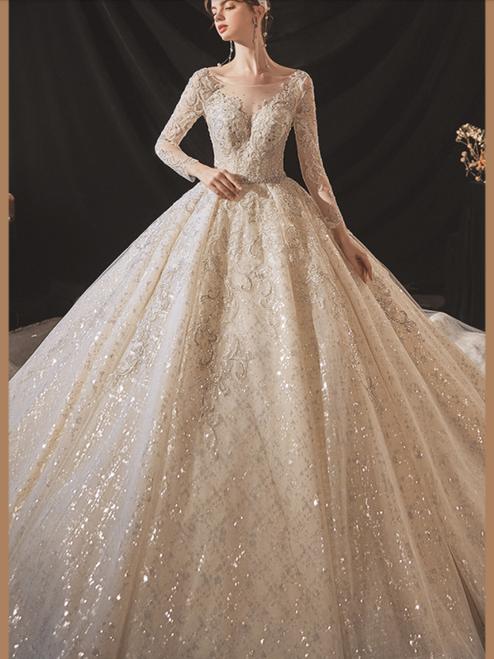 Tulle Sequins Beading Long Sleeve Wedding Dress