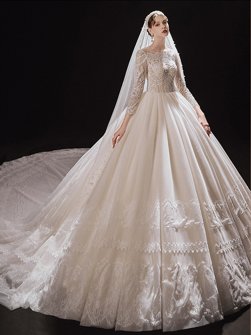 Champagne Tulle Lace Long Sleeve Backless Wedding Dress