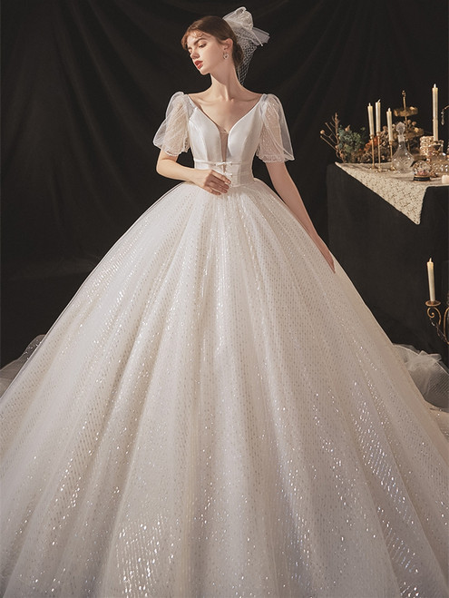 Sequins Tulle Short Sleeve V-neck Wedding Dress