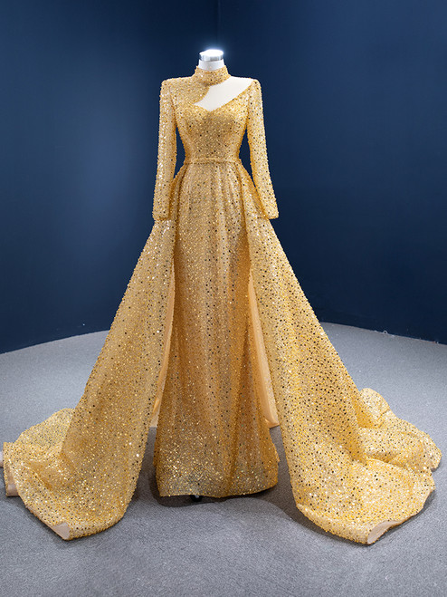 Gold Sequins High Neck Long Sleeve Pearls Prom Dress