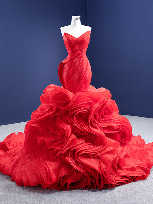 Red Mermaid Organza Strapless Pleats Prom Dress