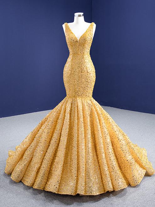 Gold Mermaid V-neck Sequins Pearls Prom Dress