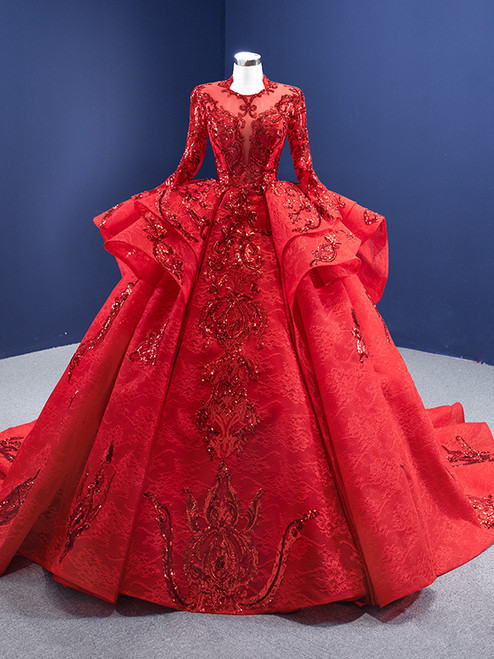 Red Tulle Lace Sequins Appliques Long Sleeve Prom Dress