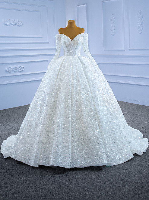 White Sequins Beading Long Sleeve Wedding Dress