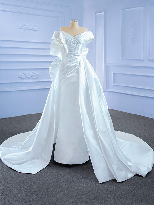 Sexy White Satin Pleats Off the Shoulder Wedding Dress