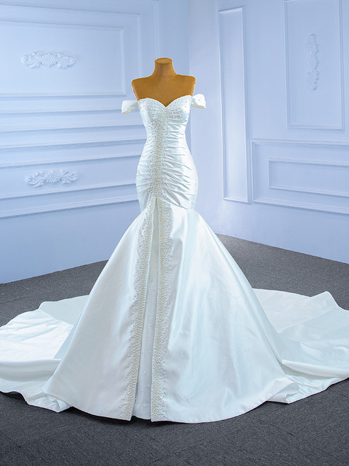 White Mermaid Satin Off the Shoulder Pearls Wedding Dress