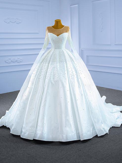 White Satin Long Sleeve Pearls Illusion Neck Wedding Dress