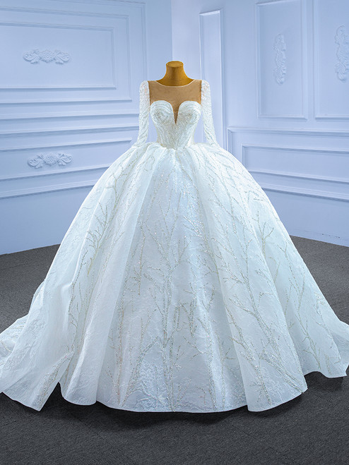 White Tulle Lace Long Sleeve Sequins Appliques Wedding Dress