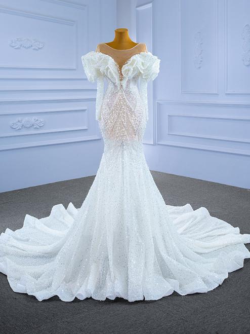 Sexy Mermaid Sequins Pearls Long Sleeve Wedding Dress