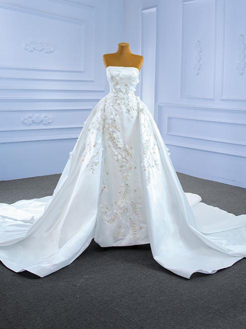 Luxury White Satin Strapless Appliques Beading Wedding Dress