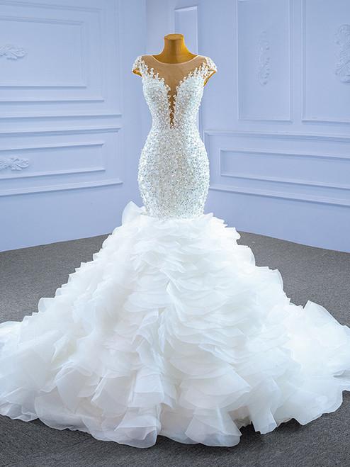White Mermaid Beading Pearls Cap Sleeve Wedding Dress