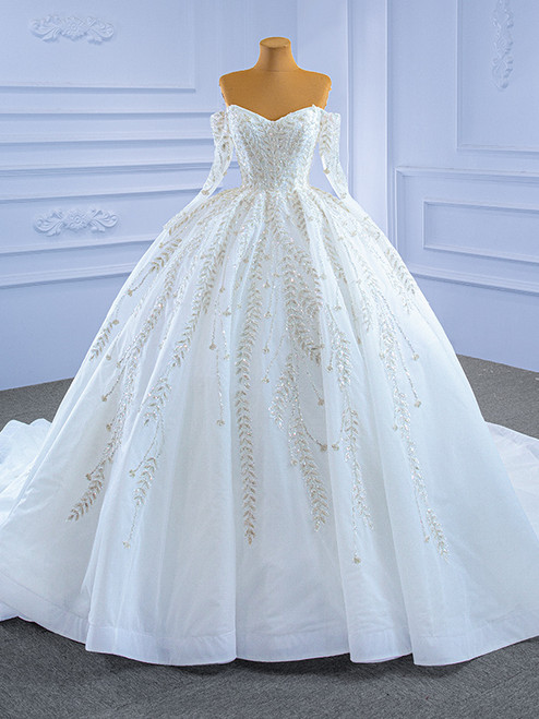 White Tulle Off the Shoulder Long Sleeve Beading Sequins Wedding Dress