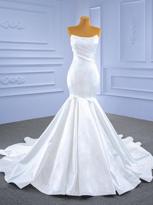White Mermaid Satin Strapless Wedding Dress