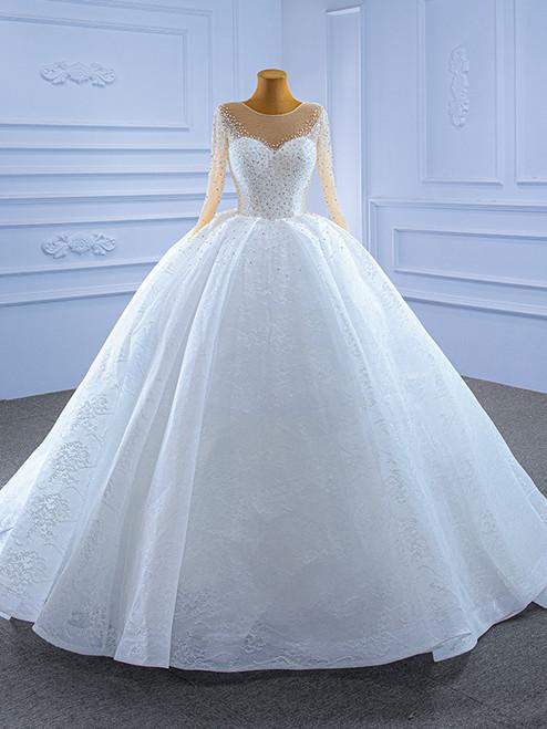 White Tulle Lace Long Sleeve Beading Wedding Dress