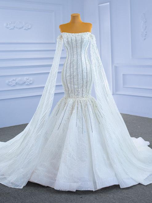 Heavy Beading Sequins Mermaid Off the Shoulder Wedding Dress