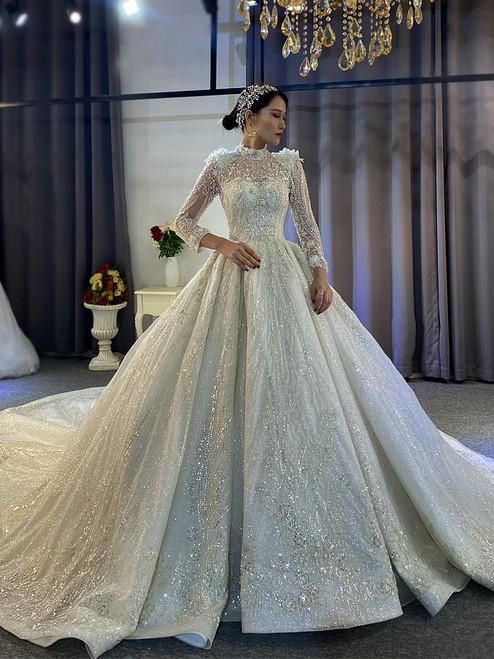 Luxury Sequins Long Sleeve Beading Wedding Dress