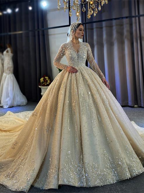 Tulle V-neck Long Sleeve Pearls Beading Wedding Dress