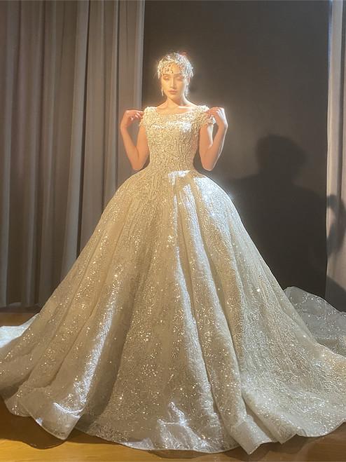 Luxury Sequins Beading Cap Sleeve Wedding Dress