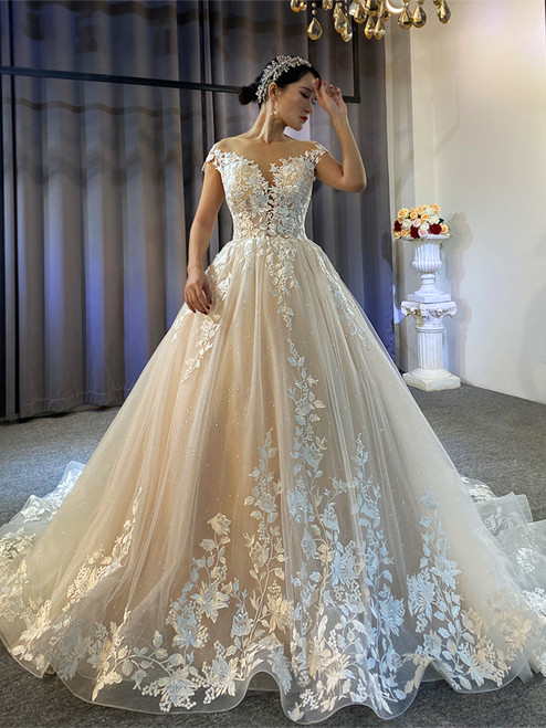 Champagne Tulle Appliues Cap Sleeve Wedding Dress