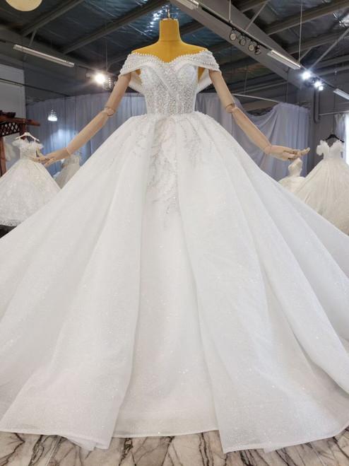 Tulle Sequins Off the Shoulder Beading Wedding Dress