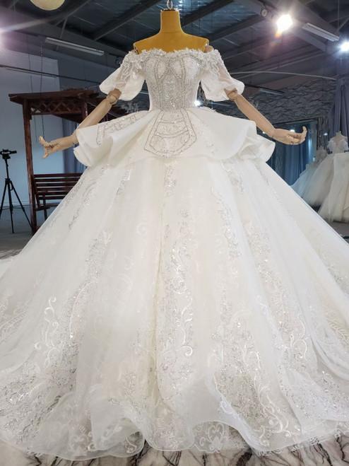 Tulle Sequins Puff Sleeve Beading Wedding Dress