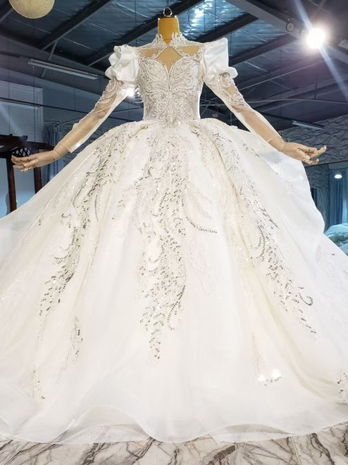 Tulle Sequins Backless Long Sleeve High Neck Beading Wedding Dress