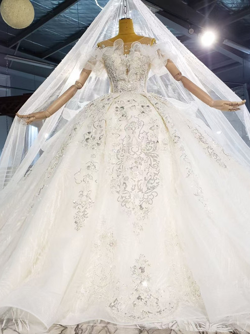 Sexy Tulle Sequins Beading Tiers Wedding Dress