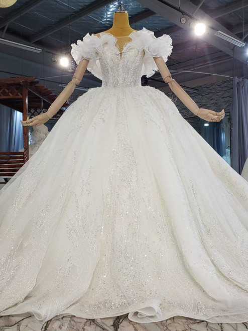 Tulle Sequins Beading Backless Cap Sleeve Wedding Dress