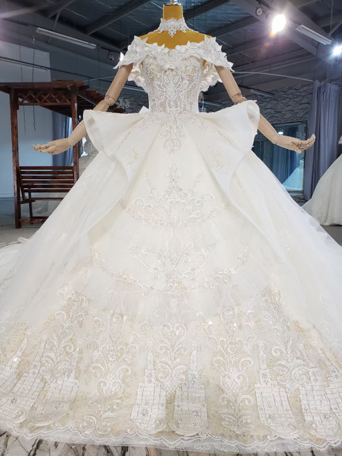 Ball Gown Tulle Sequins Off the Sholuder Wedding Dress