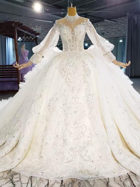 Tulle Long Sleeve High Neck Sequins Beading Wedding Dress