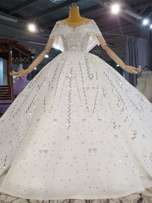 White Tulle Sequins Beading Backless Wedding Dress