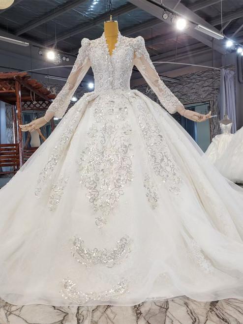 Luxury V-neck Long Sleeve Beading Sequins Wedding Dress
