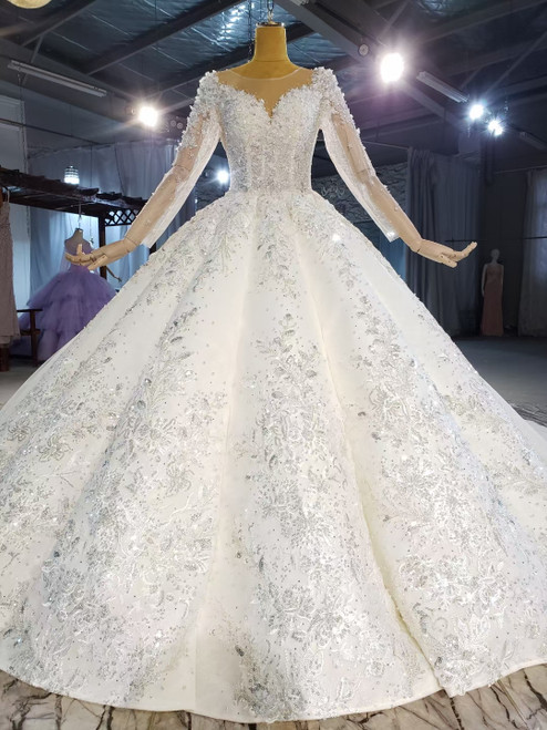 Long Sleeve Backless Sequins Appliques Beading Wedding Dress