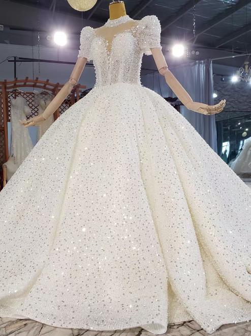 High Neck Short Sleeve Backless Sequins Beading Wedding Dress