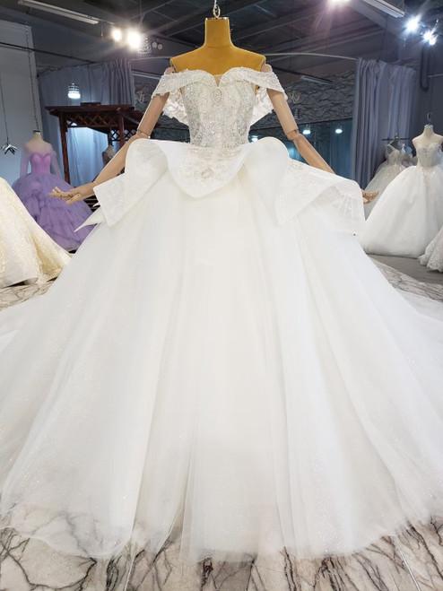 Tulle Sequins Beading Off the Shoulder Wedding Dress