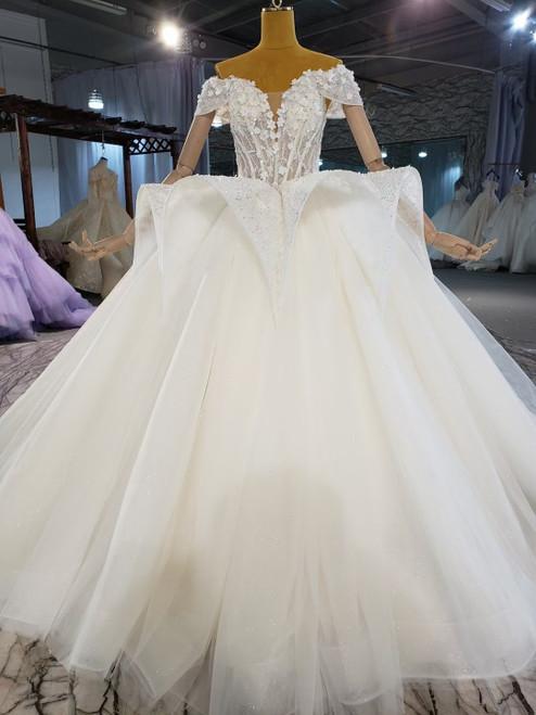 Corset Tulle Appliques Off the Shoulder Wedding Dress