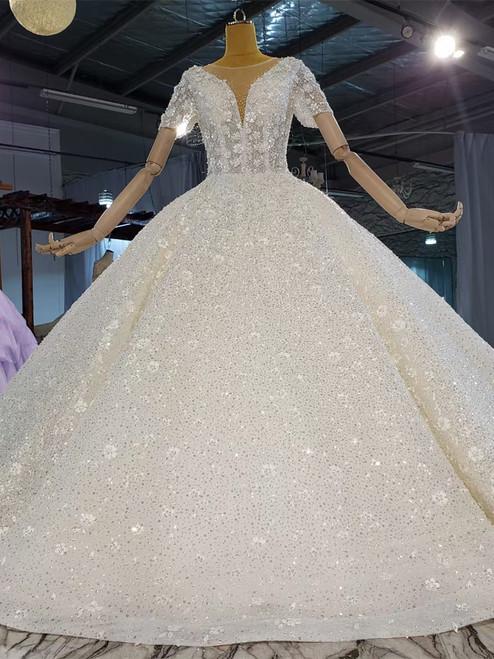 Sequins Beading Short Sleeve Illusion Wedding Dress