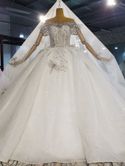 Ball Gown Tulle Sequins Beading Off the Shoulder Wedding Dress