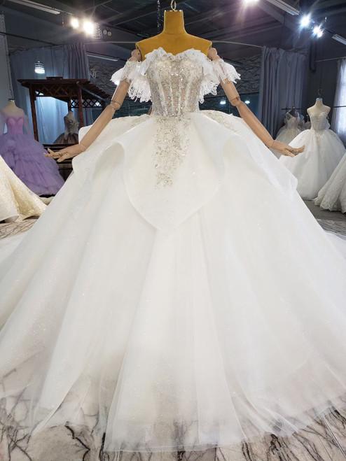 White Tulle Beading Corset Off the Shoulder Wedding Dress