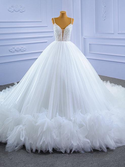 White Ball Gown Spaghetti Straps Pearls Wedding Dress