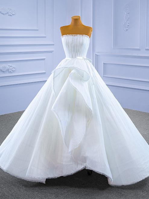 White Tulle Strapless Pleats Wedding Dress