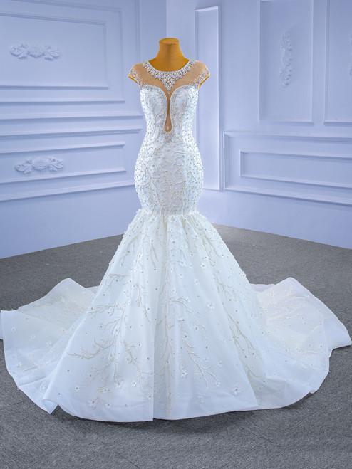 White Illusion Mermaid Tulle Cap Sleeve Beading Wedding Dress