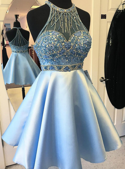 Blue Satin Short Homecoming Dress with Beading and Crystals