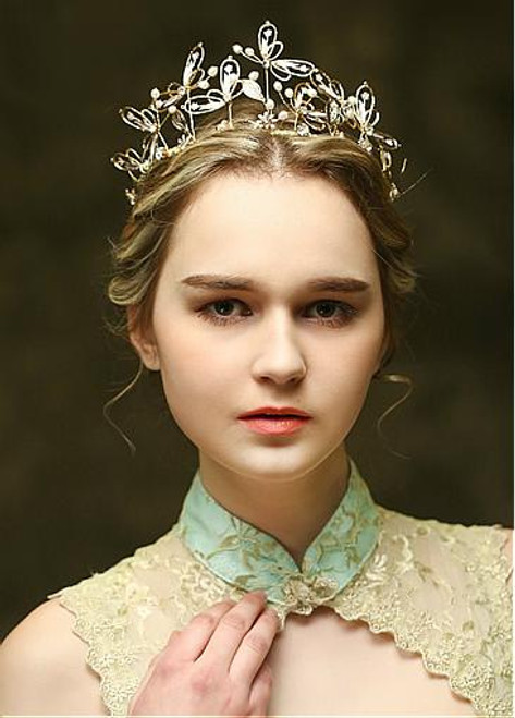 In Stock Chic Alloy Wedding Tiara With Pearls