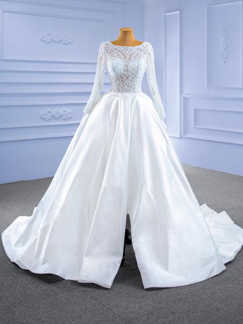 White Satin Lace Long Sleeve Beading Wedding Dress