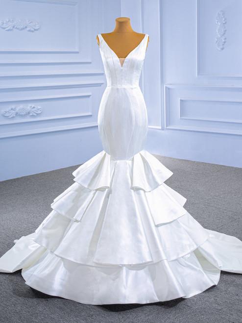 Sexy White Mermaid Satin V-neck Wedding Dress